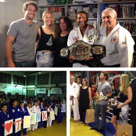 Ronda posa ao lado de Flávio Canto no Instituto Reação | Foto: reprodução