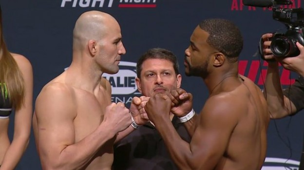Encarada Glover (esquerda) x Rashad. Foto: UFC/Divulgação