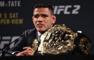 LAS VEGAS, NV - JANUARY 20: UFC lightweight champion Rafael dos Anjos of Brazil interacts with the media during the UFC 197 on-sale press conference event inside MGM Grand Hotel & Casino on January 20, 2016 in Las Vegas, Nevada. (Photo by Jeff Bottari/Zuffa LLC/Zuffa LLC via Getty Images)