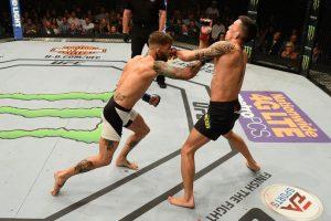 Americano não deu chances para Thominhas e deu show na trocação. Foto: UFC/Divulgação