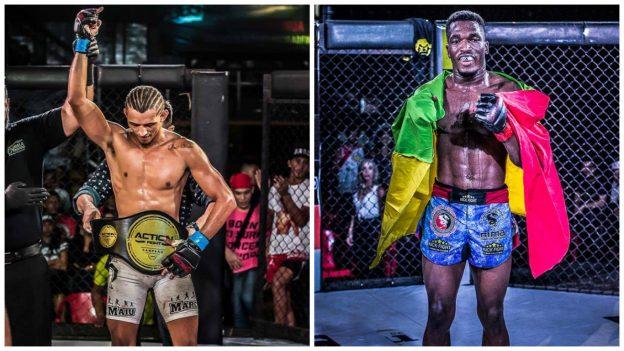 Maju (esquerda) faturou o cinturão dos pesos-penas. Iamik o dos leves. Foto: Alex Zenon/Divulgação
