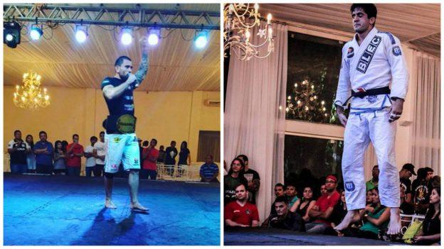 Danlo (esquerdo) e Eduardo foram campeões da noite. Foto: Arquivo Pessoal\BJJ Combat\Divulgação
