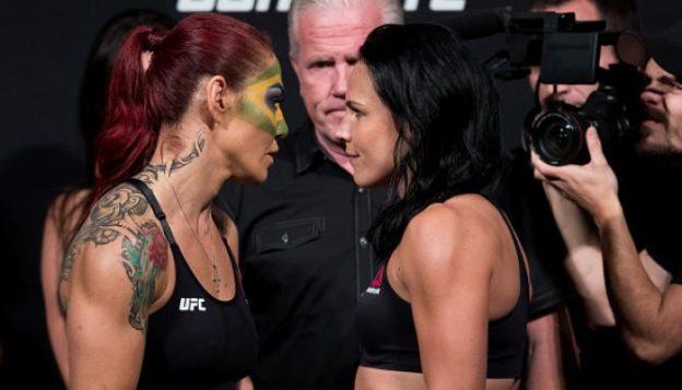 Para a pesagem, Cris pintou o rosto com a bandeira do Brasil. Foto: UFC/Divulgação