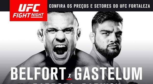 Banner de divulgação exaltando a luta principal do UFC Fortaleza: Belfort x Gastelum.