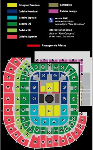 Confira o mapa de lugares do UFC Fortaleza