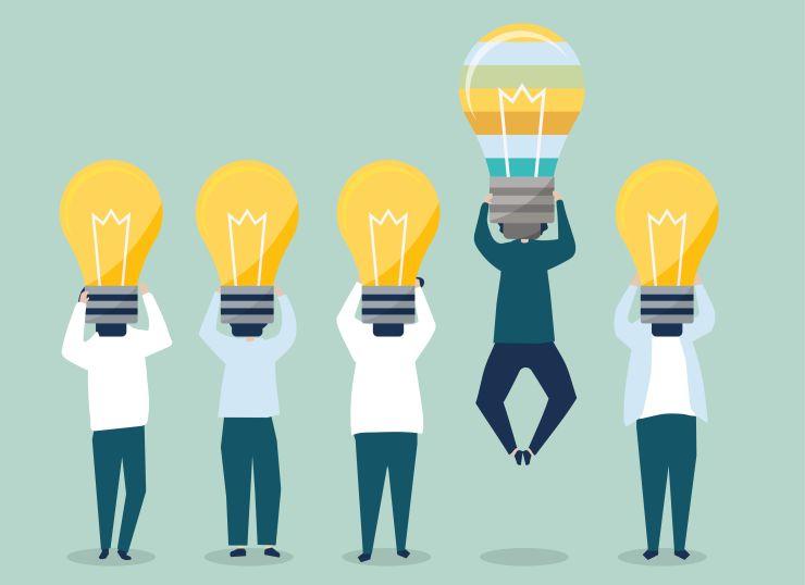 Desenho de bonecos com lâmpadas na cabeça; empreendedorismo social requer propósito