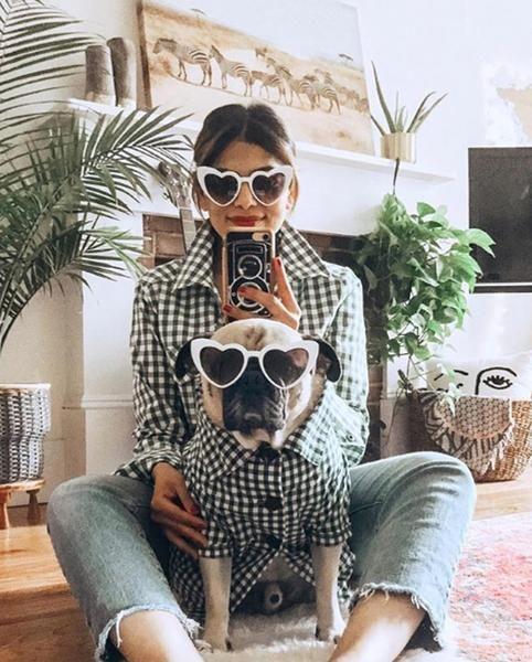 Cachorro e sua dona vestido de xadrez fotografando de frente a um espelho