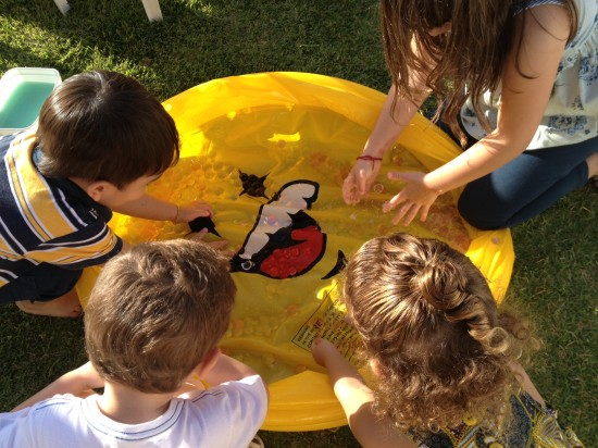 Uma piscininha com bolinhas para experiências sensoriais.