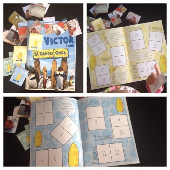 Esse aqui foi o convite. Um álbum de figurinhas com fotos e toda a historinha do primeiro ano de vida do Victor, muita música e declarações de amor.