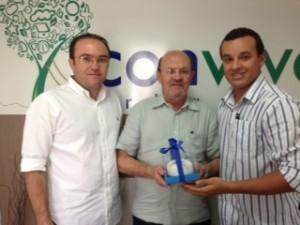 Mário Guedes Frota, o aniversariante Luiz Gonzaga Aragão e Roberto Teixeira, do O POVO