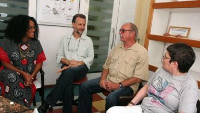 Mafoane Odara (Ashoka), eu, René Schärer (Instituto Terramar) e professora Eloísa Vida (Fundação Demócrito Rocha)