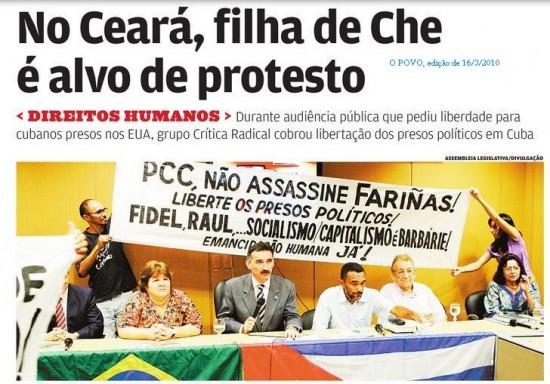 A partir da esquerda: Aleida Guvera, deputado Artur Bruno (PT), Antônio Ibiapino (Casa da Amizade Brasil Cuba), padre Haroldo Coelho e Maria Luíza Fontenele (Crítica Radical)
