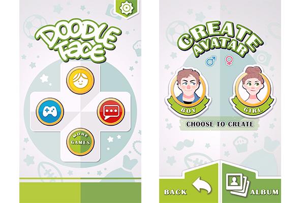 """1. Para criar seu personagem, toque no ícone amarelo com um """"rosto"""" no topo do app. Depois selecione se o gênero do seu personagem será """"feminino"""" ou """"masculino"""";"""