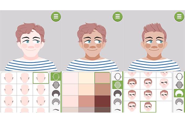 2. Na lateral direita ficam os itens de personalização e na esquerda as opções. Formato do rosto, cor da pele e estilo do cabelo são as primeiras categorias. Ao selecionar cada item observe o resultado no avatar;