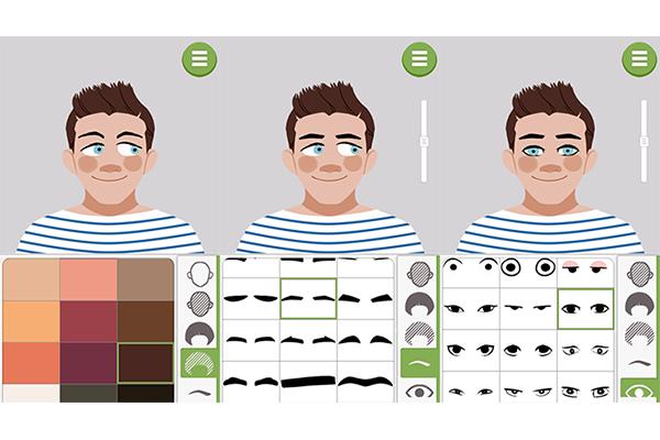 3. Selecione a cor do seu cabelo, o estilo da sobrancelha e o formato dos olhos. Você pode regula a altura deles no rosto através da barra lateral que fica do lado direito da tela
