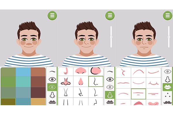 4. Nessa etapa você escolhe a cor dos os olhos, o formato do nariz e da boca. Novamente você poderá regular a altura no rosto pela barra lateral