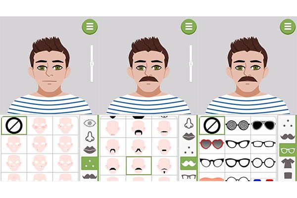 5. Você pode selecionar os detalhes no rosto, como pintas ou sardas. Ao escolher o óculos, escolha um dos modelos e ajuste a altura no rosto