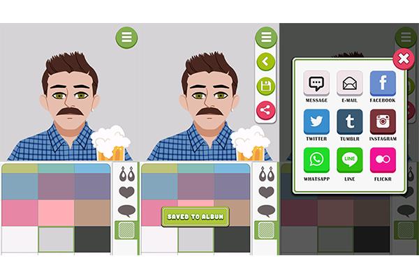 8. Por fim, escolha a cor do fundo onde seu avatar aparece. Clique no ícone com um disquete para salvar em sua galeria de imagens e caso queira, compartilhe com seus amigos nas redes sociais