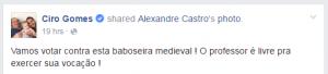 Mensagem contra o Escola Sem Partido foi divulgada no Facebook de Ciro (Foto: Reprodução/Facebook)