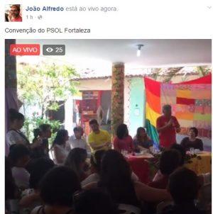 João Alfredo transmitiu o evento ao vivo. Foto: Reprodução/Facebook