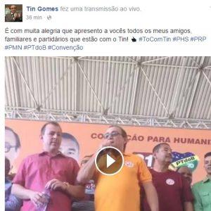 Tin Gomes transmitiu em tempo real. Foto: Reprodução/Facebook