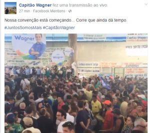Wagner fez transmissão ao vivo no Facebook. Foto: Reprodução/Facebook