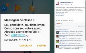 """Segundo Leonelzinho, mensagem esclarece """"peseguições"""" de opositores (Foto: Reprodução/Facebook)"""