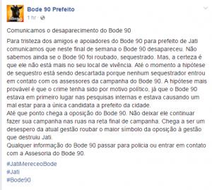 Em nota, aliados do Bode 90 pediram informações sobre o desaparecimento do candidato (Foto: Reprodução/ Facebook)