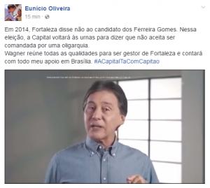 Eunício participa de campanha de Capitão Wagner (Foto: Reprodução / Facebook)