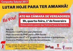 O Sindifort, com apoio da Intersindical e da Frente Povo Sem Medo, faz protesto na CMFor (Foto: Divulgação / Sindifort)