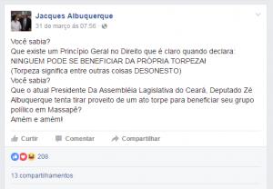 Jacques Albuquerque é irmão do presidente da Assembleia, Zezinho Albuquerque (Foto: Reprodução/Facebook)