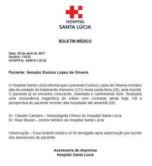 Senador Eunício Oliveira já deixou a UTI, mas passará por novos exames (Foto: Divulgação)