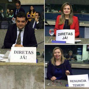 Parlamentares da oposição fizeram discursos e manifestações pela saída de Temer (Divulgação)