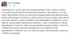 Ivo Gomes criticou possível volta de Lula ao poder (Foto: Reprodução/Facebook)