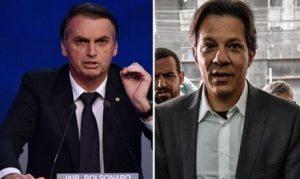 Bolsonaro e Haddad, candidatos que lideram primeiro turno nas pesquisas
