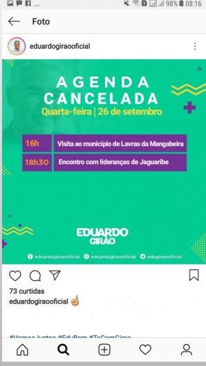 Fake news sobre falso cancelamento de agenda