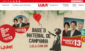 Material de Haddad está em página com nome de Lula (Reprodução)