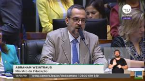 Abraham Weintraub foi convocado para prestar esclarecimentos sobre cortes (Foto: Reprodução/TV Câmara)