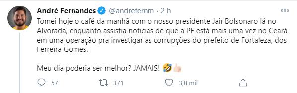 Tuíte de André Fernandes