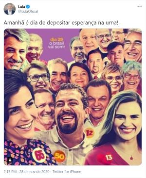 Post de Lula em apoio a Sarto e outros candidatos