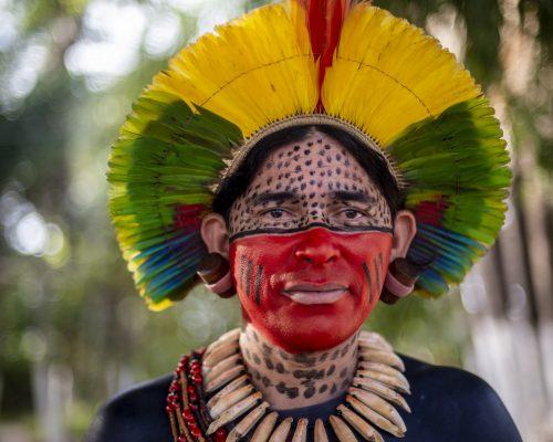 Mulher indígena olha para a câmera. Ela usa um cocá com as cores verde, amarelo e vermelho. Possui metade do rosto com pintas pretas, enquanto a outra está com tinta vermelha. Usa um colar de madeira.