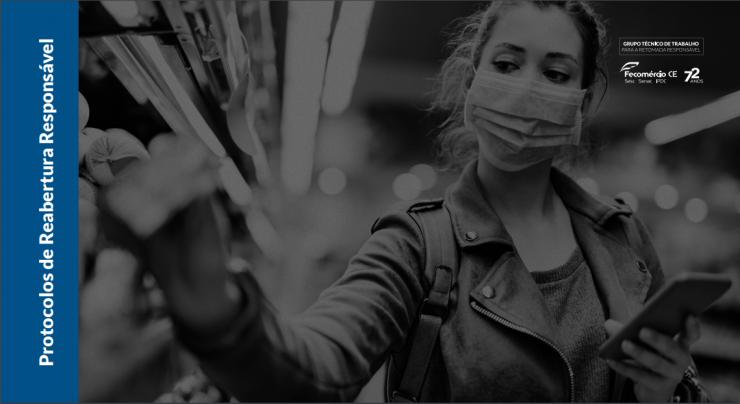 Capa de um dos E-books do Fecomércio, com mulher de máscara