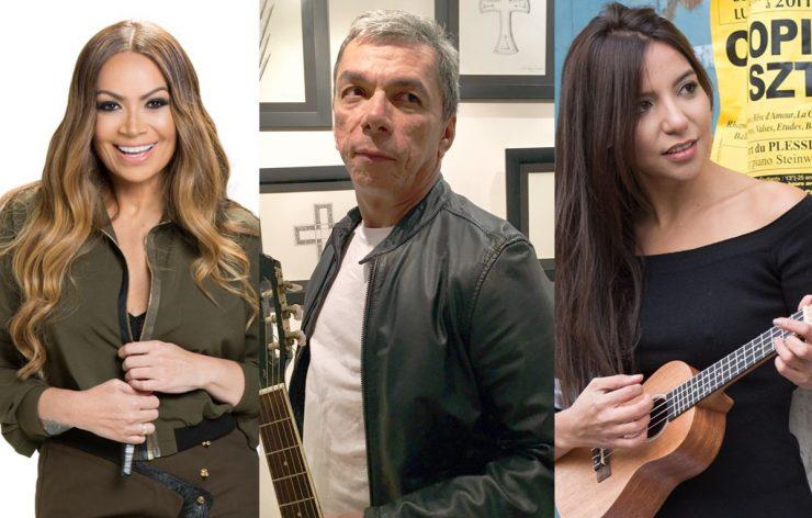 Solange Almeida, Edmar Gonçalves e Bruna Ene de perfil; eles participam da liveshow