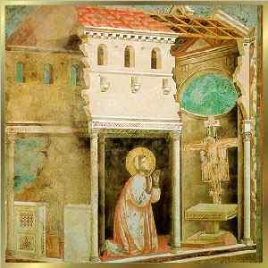 São Francisco diante do Crucifixo de São Damião. Pintura de Giotto