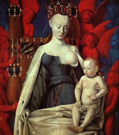 Noséc. XV, o rei Carlos VII pediu ao pintor Jean Fouquet para representar sua amante Agnès Sorel como a Virgem com o Menino. Esse quadro causou escândalo.