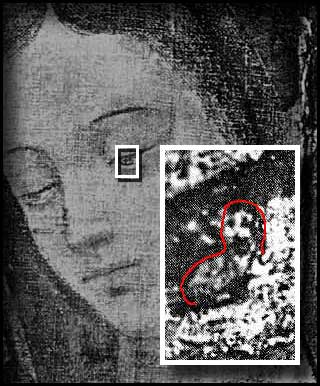 A imagem de Juan Diego refletida no olho de Nossa Senhora
