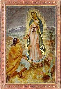 Juand Diego diante de Nossa Senhora de Guadalupe