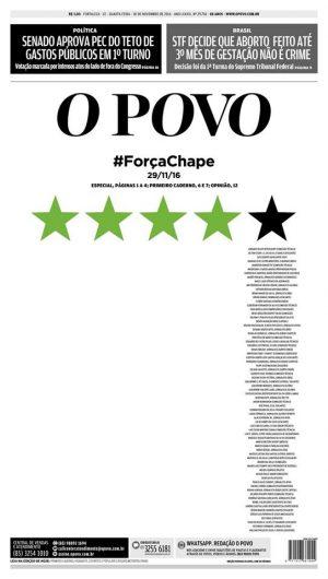 Capa do jornal O POVO desta quarta-feira, 30. (Reprodução)